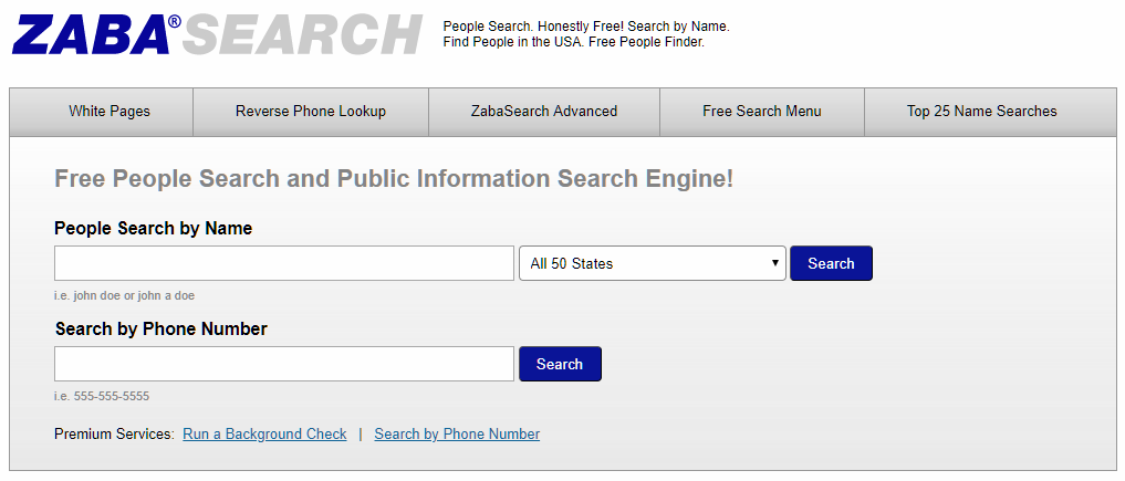 Deep web people search engines - ZabaSearch